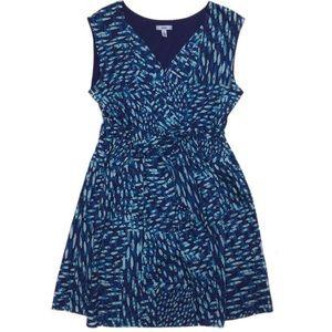 Izod Cotton Batik Print Dress SZ 14 Blue Purple
